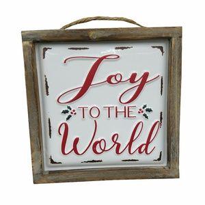 Joy to the World Enamel Wood Frame Sign